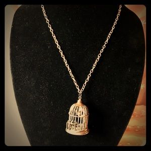 Jewelry - Really cute brass colored bird cage necklace